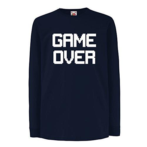 Kinder-T-Shirt mit langen Ärmeln Spiel über lustige Gamergeschenke (3-4 years Blau Weiß)