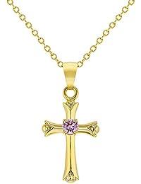 7c8e88c7b529 In Season Jewelry - Fille Enfants - Croix Collier Pendentif - Plaqué or 18k  - Rose