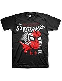 Officiellement Marchandises Sous Licence Marvel Comics Spider-Man Close Up 3XL,4XL,5XL Hommes T-Shirt (Noir)