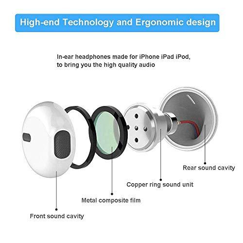 Ohrhörer mit Mikrofon und Fernbedienung, Premium Ohrhörer Stereo Kopfhörer für iPhone XS Max, XS, X, 8,7/8 Plus, 7 Plus (Weiß) - 4