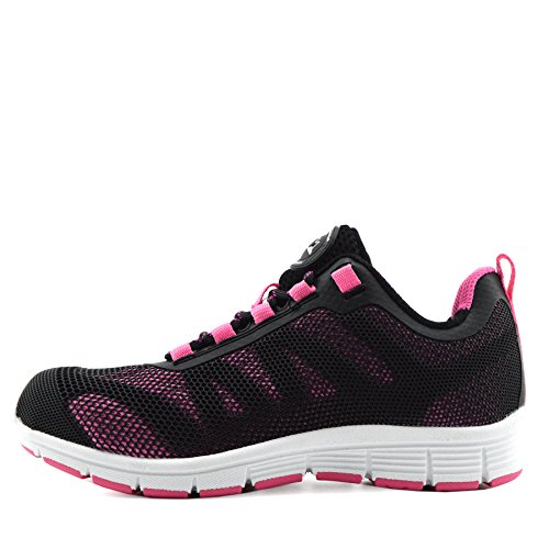 Herren Groundwork Stahlkappe Sicherheit Spitzen Arbeit Lightweight Trainer,Steel Toe - UK6/EU39 Womens, Black - Pink
