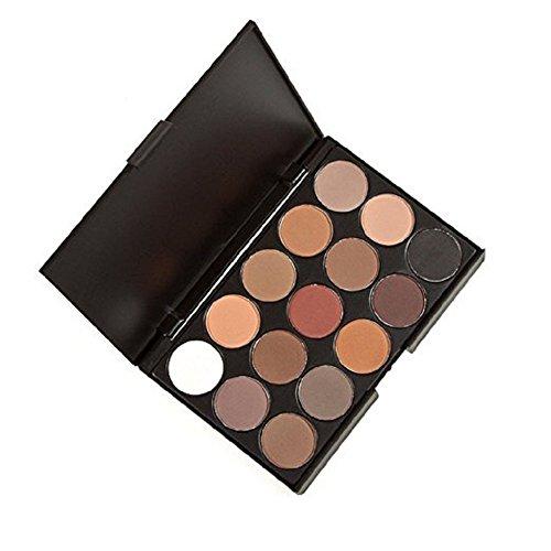 Cdet Palette de Fard à Paupière Waterproof Durable Matte Shimmer Mat Makeup Palette Shimmer 15 Couleurs Brosse Set
