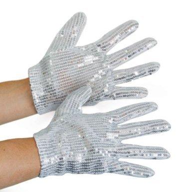 Orlob Pailletten-Handschuhe silber zu Kostüm Karneval Fasching Halloween