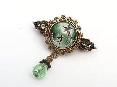Petite pince à cheveux avec elfe en bronze vert