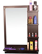 Anikaa Mavis Dressing Table/Wall Mirror' with Shelves (Wenge)
