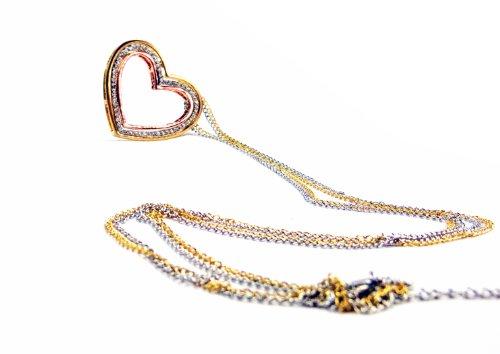 Delicate Elegance Mystery Fancy Comme Hearts Kette Edle Funkelnde Strass Kette in Silber Gold und Rosegold in Herzen Form Handerarbeitet und Hochglanzpoliert Herzkette Tricolor mit (Paris Modeschmuck)