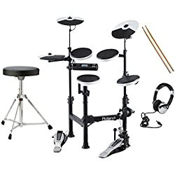 Roland V-Drums TD-4KP Electronic Drum Kit With Stool, Bass Drum Pedal, Sticks, Headphones …