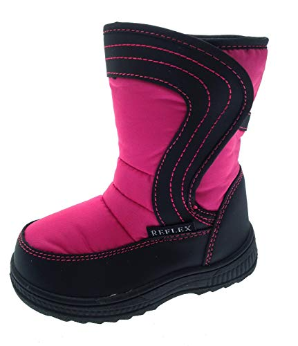 LD Outlet Childrens Kids Unisex Girls Boys Winter Warm Fur Lined Velcro Snow Boots Mucker Black Pink Size UK 5-10