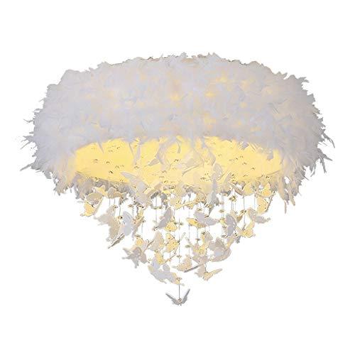 Spots de plafond Plafonnier Cristal Papillon Plafonnier Simple Moderne LED Chaud Romantique Plafonnier Lampe Salon Salle À Manger Lampe De Chambre (Color : Blanc, Size : 68 * 68 * 60cm)