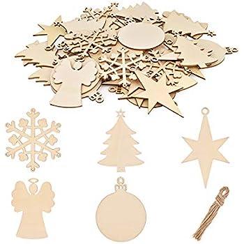 Albero di Natale, Pupazzo di Neve, Fiocco di Neve Set di 3 Decorazioni in Legno per Albero di Natale kungfu Mall