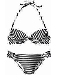 lascana de bikini push up, schwarz-weiss gestre, 38B