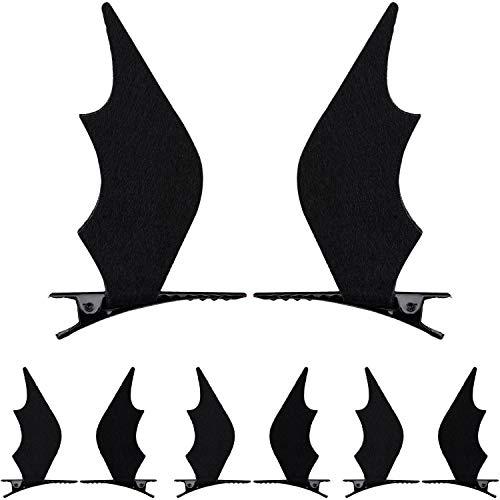 Haar Teufel Kostüm - WILLBOND 4 Paar Halloween Haarspangen Fledermaus Flügel Clip Teufel Clips Haarnadel Haar Schmuck für Halloween Cosplay Party Kostüm