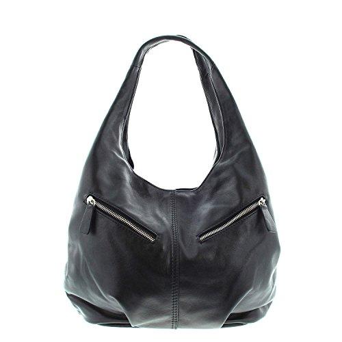 IO.IO.MIO echt Leder Damen Taschen Handtasche Shopper Henkeltasche Beuteltasche Frauen Handtaschen Tasche Damenhandtaschen schwarz , 30x25x17 cm (B x H x T) (Italienische Handtasche)