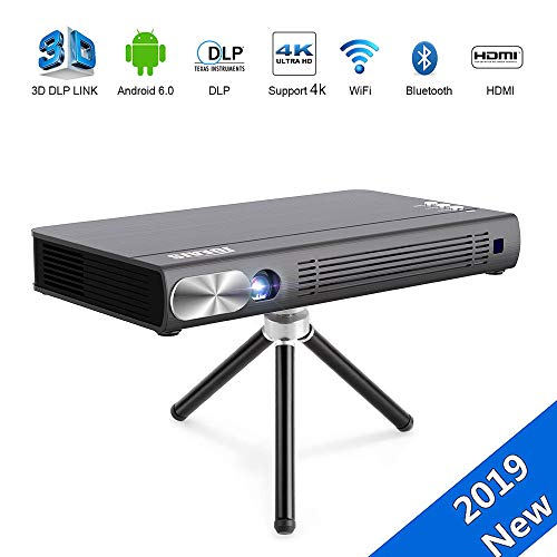"JOEAIS Mini Proyector, WiFi 3D DLP 200ANSI Portátil Bolsillo Vídeo Proyector 300"" Imagen Grande BT4.0 Soporte 1080P HD 4K HDMI USB Compatible con Android, iPhone, PC, TV Stick, Gamepad"