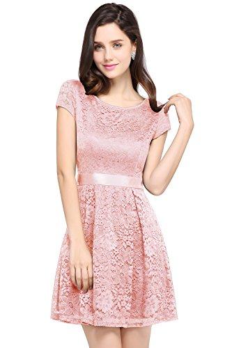 Damen Prinzessin Spitzenkleid Abendkleid Mini Lace Dress Pailetten Rosa Gr.32