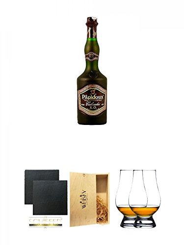 Papidoux Calvados XO Frankreich 0,7 Liter + Schiefer Glasuntersetzer eckig ca. 9,5 cm Ø 2 Stück + 1a Whisky Holzbox für 2 Flaschen mit Schiebedeckel + The Glencairn Glass Whisky Glas Stölzle 2 Stück
