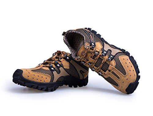 Unisex-Erwachsene Atmungsaktive Vier Jahreszeiten Wildleder Mesh Hohl Moderne Sportswanderschuhe Schnürsenkel Gummi Sohle Anti Rutsch Wanderstiefeln Braun
