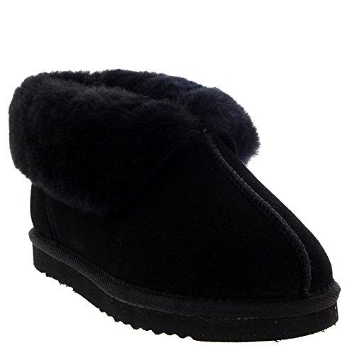 Femmes Réel Daim Australien Peau De Mouton Fourrure Chaussons Bottes Noir