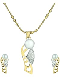 Mahi Gold Plated Pearly Love Pendant Set For Women NL1101059G