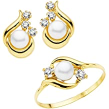 e352fd19c047 Conjunto juego niña oro amarillo 18 ktes 1ª Comunión anillo y pendientes  perlas ...