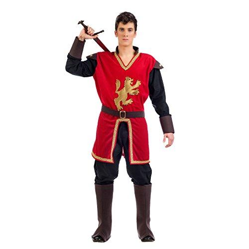 Kostüm für Herren Prince Mittelalter Coeur de Lion 4-teilig Hose, Mantel, und Armstulpen, Gürtel Karneval rot L (Costume Moyen Homme Age)