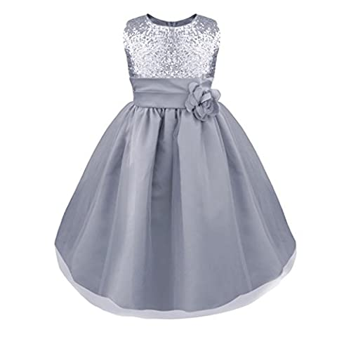 iEFiEL Girls Sequinned Dress Flower Princess Sleeveless Formal Party Wedding Bridesmaid Tulle Dresses Silver 4 Years
