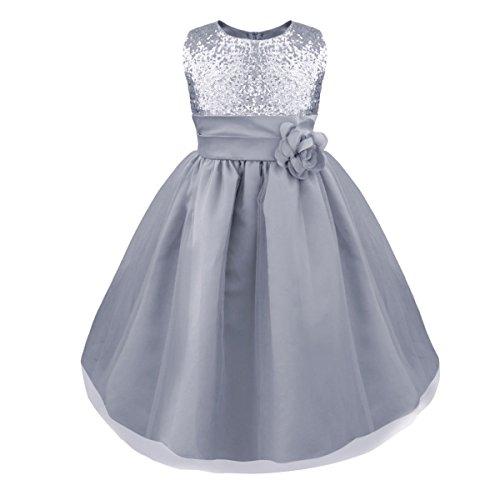 (iiniim Kinder Mädchen Kleid Langes Festlich Kleid Blumenmädchenkleid Hochzeit Partykleid Kommunionskleid Gr.98-164 Silber 116-122/6-7 Jahre)