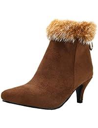400fc3a75540 YE Bottine Femme Fourrure Bout Pointu Talon Aiguille Kitten Heels Chaussure Bottes  Courtes Zip Chaude Hiver