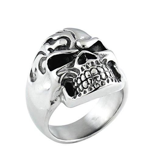 tahl Vintage Böse Schädel Ring Schwarz Silber Größe 54 ()
