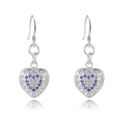 NYKKOLA Fashion Beautiful Jewelry placcato in argento Sterling 925 con Ametista a forma di cuore orecchini per le