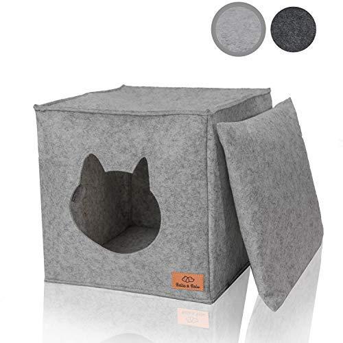 Bella & Balu Panier niche pour chat en feutre – Abri pour chat premium pliable avec coussin douillet et jouet - Pour étagères type Ikea® ou à poser au sol (Gris clair)