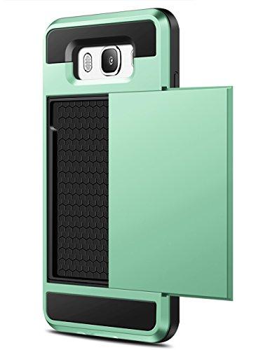 Samsung Galaxy J7 2016 Hülle, Coolden® Prämie Brieftasche Outdoor Drop Resistance Bumper Kameraschutz 2 Kartenfach Ausweisetui Kreditkartenetui Schutzhülle für Samsung Galaxy J7 Handyhülle Samsung Galaxy J7 J710 Tasche Mintgrün