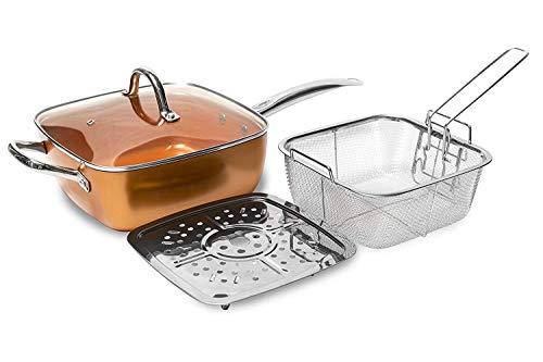4-teiliges Set kupfer Pfanne, Induktion für Chef Glasdeckel, Braten Korb, quadratisch, Dampf Rack - Fry Pan Set