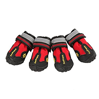 Onemore Choice Waterproof Dog Shoes for Medium and Large Dogs With Reflective Velcro 4pcs … 1