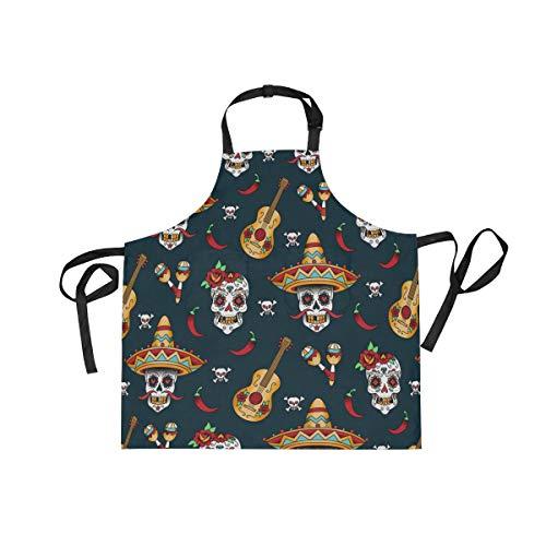 XiangHeFu Delantales con 2 Bolsillos de música Mexicana con diseño de Calavera de azúcar 27.5 x 29 Pulgadas, Correa Ajustable para el Cuello para Hombres, Mujeres, cocinar, cocinar, cocinar.