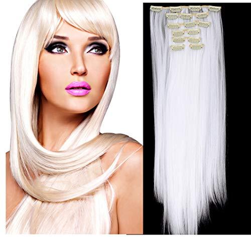 Haarteil Lange Gerade Weiche No Gap Invisible Tangle Free Synthetische Haarverlängerungen Stücke 16 Clips Clip in Haarverlängerungen für Frauen Mädchen 22 Zoll,Weiß - Synthetische Haarverlängerungen