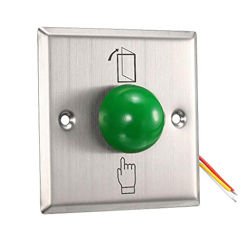 ZCHXD Door Release Button Push to Exit Resettable NO/NC/COM Switch for Access Control Panel 86mmx86mm 12V 3A Stainless Steel - Access-panel 12x12