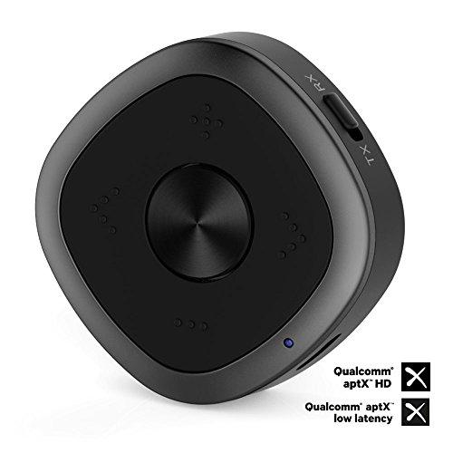 TOP-MAX Aktualisiertes tragbares Bluetooth 4.1 Sender / Empfänger für TV (3.5mm, RCA) - Kabelloser 3.5mm Audio Adapter für Auto-Stereoanlage - Freisprechen, APTX HD-, APTX LL-, APTX-Schnellstrom, SBC,AAC, Paar 2 Bluetooth Kopfhörer. (Laden, Top Speicher)