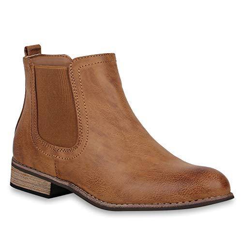 Stiefelparadies Damen Stiefeletten Chelsea Boots Gefütterte Ankle Booties Leder-Optik Schuhe Klassisch 121388 Braun Avelar 41 Flandell