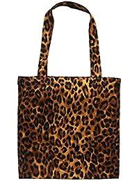 Ogquaton Bolso de hombro de lona con estampado de leopardo de las mujeres Bolsos casuales Alta