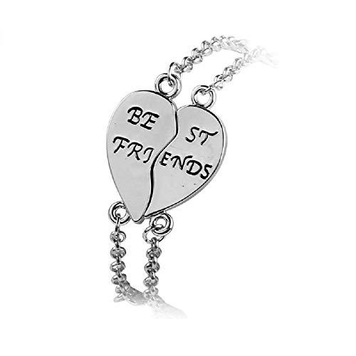 Imagen de strass & paillettes pulsera doble de best friend corazón de plata separado en dos para su mejor amiga en una caja de regalo