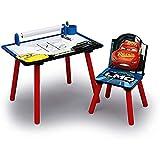 Familie24 Cars Holz Maltisch mit Papierrolle + Stuhl Maltisch Kinderschreibtisch Kindertisch Kinderschreibtisch