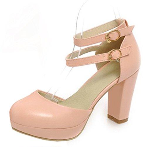 Aisun Damen Elegant Kunstleder Einfarbig Plateau Zwei Riemchen Blockabsatz Geschlossen Sandale Pink