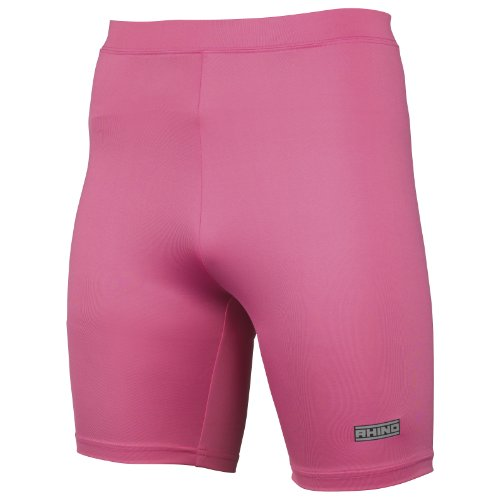 Rhino Base Layer Short Adult - Unisex Sport Compression Fit Performance Shorts Pink Small/Medium -