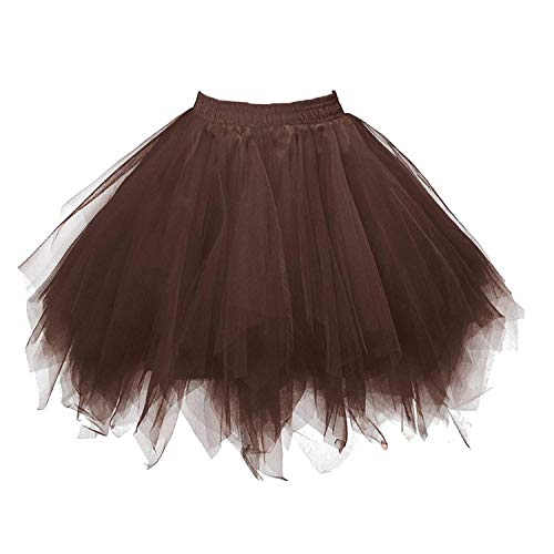 Inc Feier Kostüm Halloween - Karneval Damen 80er Braun Puffy Tüllrock Tütü Röcke Tüll Petticoat(MEHRWEG)