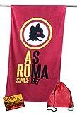 tex family Telo Mare Sport Roma Misura CM.70X140 Originale A.S. Roma con Zaino TEXFAMILY PORTATELO e Cartolina Roma È