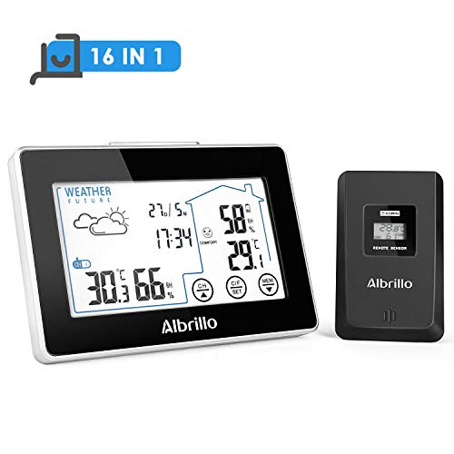 Albrillo Funk Wetterstation - Digitale Thermometer & Hygrometer inkl. Außensensor für Innen/Außen, Touch Control LCD-Display, Uhrzeit Anzeige, Wettervorhersage-Piktogramm, Komfortstufe, 3 Kanäle