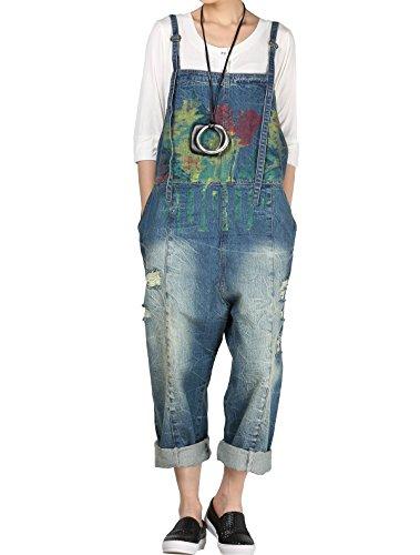 Vogstyle Donna Pantaloni Jeans Donna Salopette A fiori Stile 6 Blu