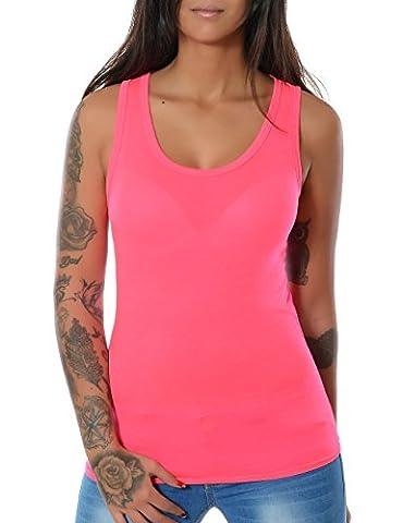 Damen Tank Top Shirt Ärmellos Spitze (weitere Farben) No 12658, Farbe:Pink Neon;Größe:One Size