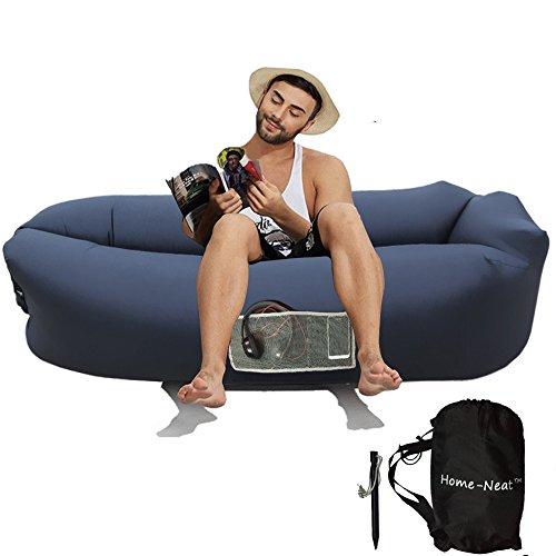 Home-Neat Sitzsack Aufblasbare Liege/Bett für Festival, Camping, Reisen, Urlaub, Garten, Strand, 15in x 3in x 7in (schwarz)